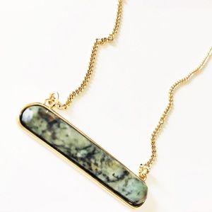 Express semi precious green stone bar necklace